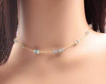 Aquamarine Gemstones Necklace - Aquamarine Chocker Necklace - Gold-Filled Precious Necklace - Aquamarine Minimalist Jewelry.