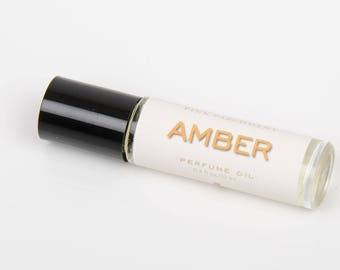 Amber Roll On Perfume - Vanilla, Patchouli, Sandalwood, Musk - Autumn - Fall - Gift for Her, Gift for Women, Gift for Girlfriend