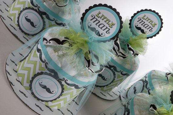 Diaper Cake - Mini Diaper Cake Set - Little Man Diaper Cake - Mustache Diaper Cake - Baby Shower Centerpeice -  Little Man Baby Shower
