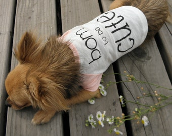 "Dog Clothing-Pink Baseball Tee ""Born to be Cute"" Graphic"