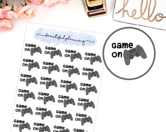 Clearance 50% off Game On, Gamer, Gaming, Controller Dark Grey Planner Stickers for use in ERIN CONDREN LIFEPLANNER ™, Happy Planner