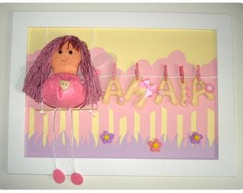 Cuadro personalizado nombre bebe HADA / Custom frame baby name FAIRY