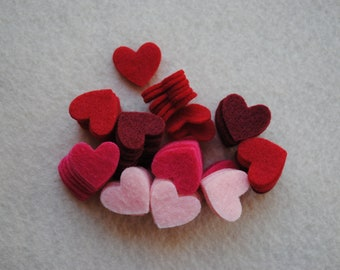 100 Piece Small Die Cut Felt Hearts, Reds