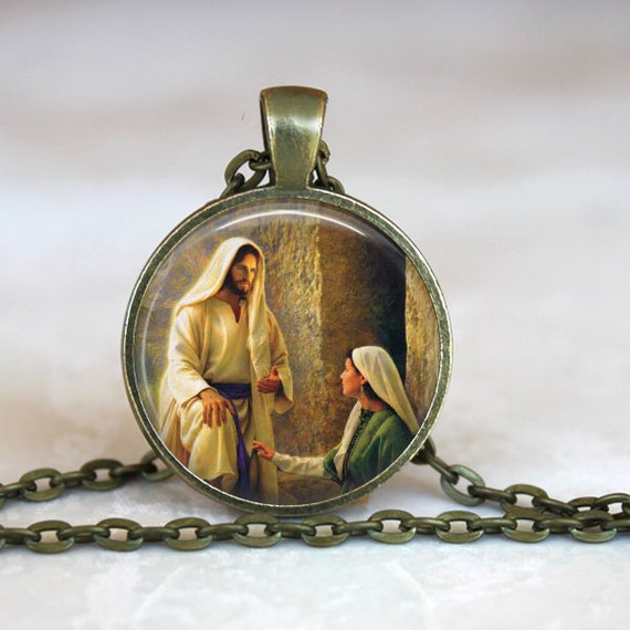 St Mary Magdalene Pendant, Catholic Jewelry, Catholic Saint Necklace, Saint Mary Magdalene