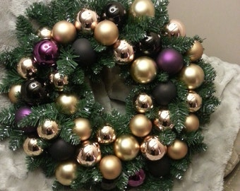 Gold Ornament Wreath with Black and Purple Accents