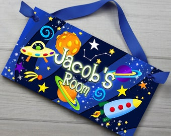 DOOR SIGN Blast Off Boys Bedroom Outerspace Rocket Ship Wall Art DS0015