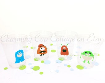 Monster Party Cups/Monster Themed Birthday/Party Cups/Birthday Cups/Disposable Cups/Party Supplies/Monster Party Theme