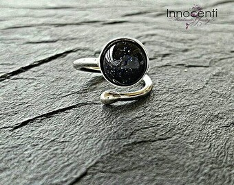 Constellation Ring Celestial Ring Blue Goldstone Ring Universe Ring Galaxy Ring Star Ring Blue Stone Ring Blue Black Ring Zodiac Ring Space