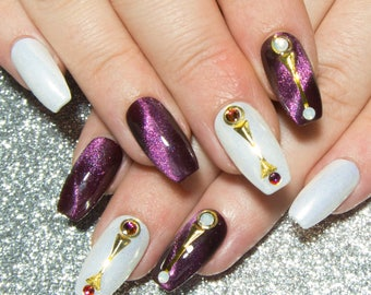 Press On Nails Coffin - False Nails with Designs - Purple Nails - Glue on Fake Nails - Nail with Swarovski Crystals - White Opal & Chameleon