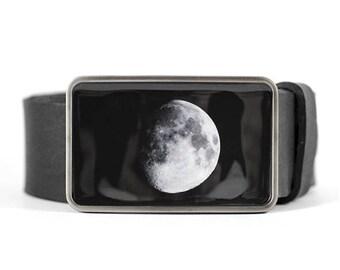 Moon Belt Buckle, belt buckle for men, Space belt buckle, gift for him, men's belt buckle, black belt buckle