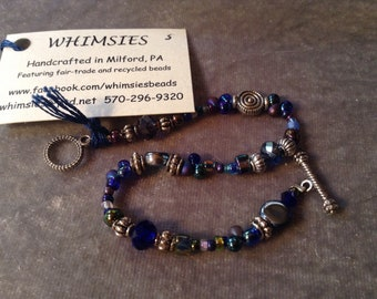 Glass beaded bracelet, size SMALL. Midnight blues, Boho, hippie, fair trade, gift, free shipping. Made in USA.