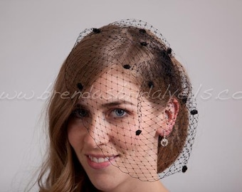 Bridal Veil, Chenille Dot Wedge Birdcage Veil, Wedding Veil - Available In Ivory, White, Black and More Colors
