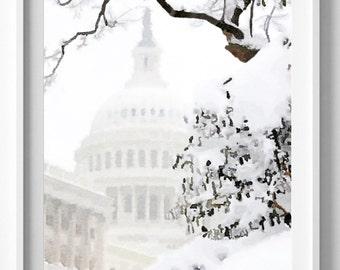 Washington Capitol Hill, Painting,Watercolor, Art Print, Home Decor,Pic no 34