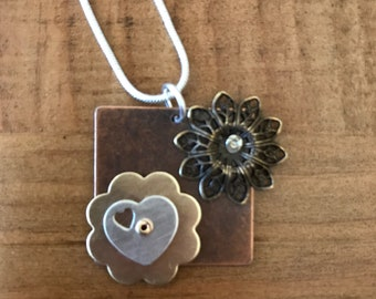 Metal Collage Necklace Pendant in Copper Brass Sterling Silver
