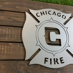 Chicago Fire MLS Sign with Maple Backdrop  Metal Style Sign  MDF Board Cut Out Logo With Faux Metal Finish  Rustic Pallet Wood