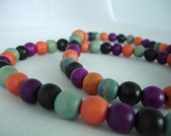 Multicolored Wooden Bead Necklaces - 2  Rainbow Necklaces - Multiuse Bracelet Necklaces - Adjustable Elastic
