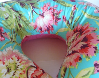 Amy Butler Bliss Bouquet Teal Boppy Cover With Personalization Option