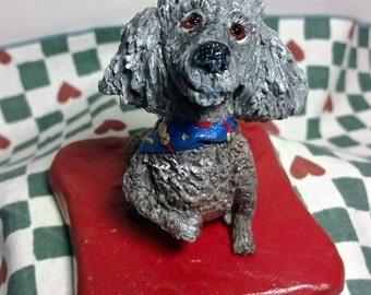 custom dog sculpture, clay poodle, clay poodle sculpture, handmade poodle figurine, personalized poodle sculpture, pet memorial, clay poodle
