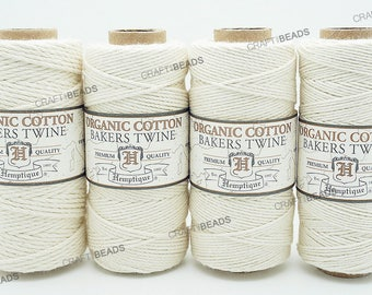 Natural White Organic Bakers Twine 100% Cotton Hemptique Macrame Craft String - 1MM, 1.2MM, 1.5MM & 2MM Thickness