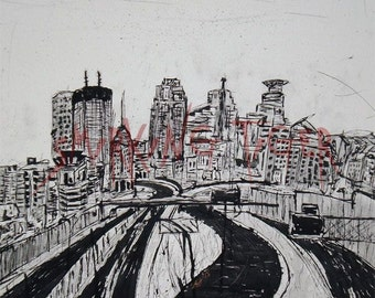Minneapolis Art Print: Twin Cities Cityscape featuring a view of Downtown Minneapolis, 11X14