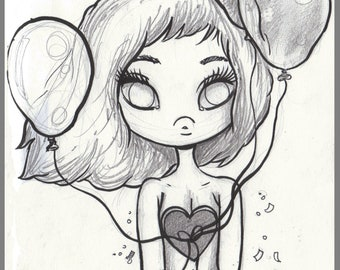 Day #165- Heart on a String - Balloon Time-  original sketch a day drawing! 5.5 x 8.5