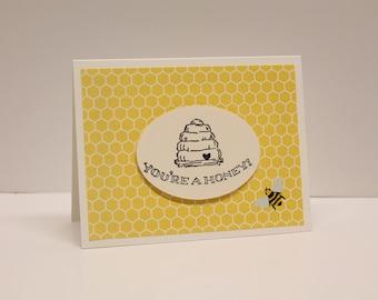 Thanks, you're a honey handmade card