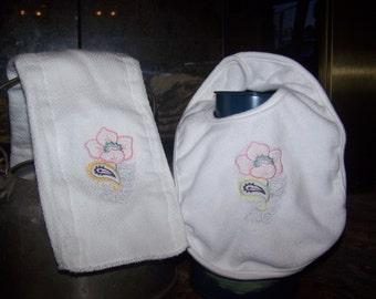 Flowered Bib and Burb Cloth Set
