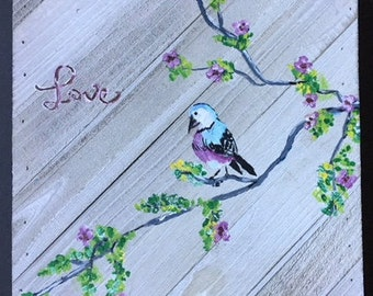 wood plank; handpainted; original artwork; bird; Spring Blossums