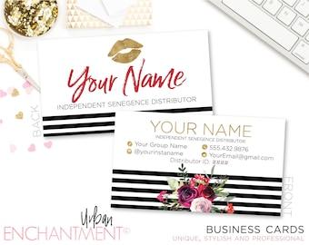 LipSense Business Cards. SeneGence Business Card. Makeup Business Card. STRIPED FLORAL. Floral Business Card.