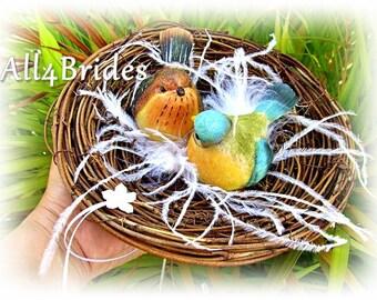 Love birds nest ring bearer pillow - rustic wedding bird nest ring pillow