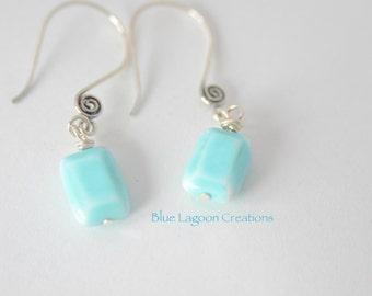 Blue Glass Chiclet Earrings