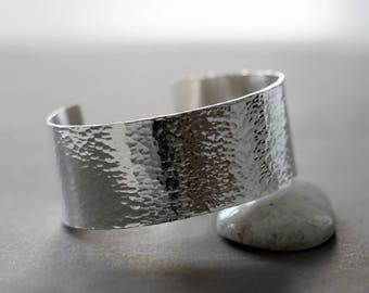 Wide sterling silver cuff bracelet, classic hammered texture cuff