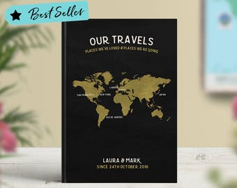 Travel Journal, Travel notebook personalised, Travel diary A5, Travel journal scrapbook, Adventures journal Australia, Writing Journal, Map