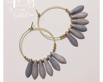 Juniper Hoops — mottled green czech glass brass simple minimalist ooak handmade nashville gypsy dainty wedding boho lightweight