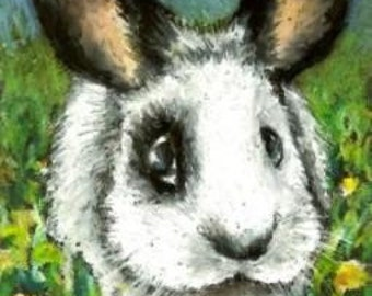 Pirate bunny in a dandelion sea - print of an original painting by Tanya Bond