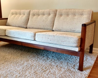 Mid Century Teak And Upholstered Sofa