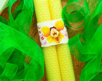 Orchid Candles Yellow Beeswax Candles Hand Rolled Candle Taper Pair Orchid Gift Flowers Original Orchids Artwork Eco Friendly Green Pretty