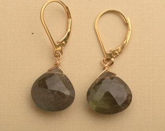 Labradorite Earrings, Gemstone Earrings, Blue Gray Gemstone Earrings, Gold Leverback, Healing Gemstone Jewelry