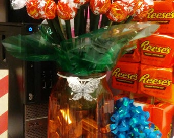 Lindor chocolate truffle rose candy bouquet with hershey nuggets(glass vase will be different but will be similar shape)