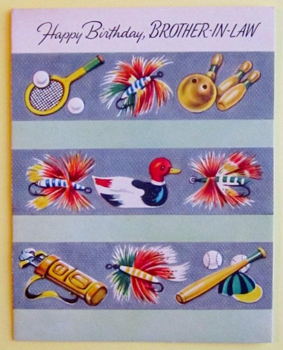 Vintage unused happy birthday brother in law greeting card bookmarktalkfo Choice Image