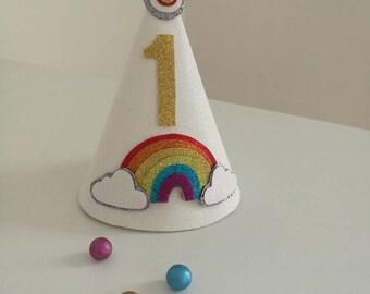 Rainbow birthday cone hat