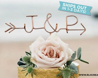 Personalized Arrow Cake Topper / Wire Wedding Cake Topper / Arrow with Initials Cake Topper / Custom Initials Wedding Cake Topper