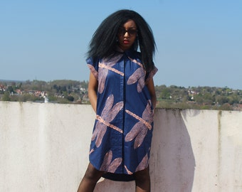 African Shirt Dress African Dress Wax Print Dress Longline Shirt Ankara Dress African Clothing Festival Dress Bohemian Clothing Ethnic Dress
