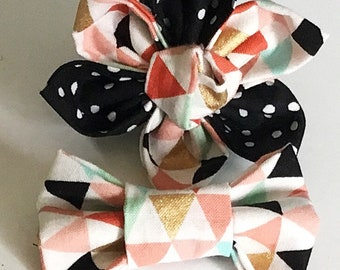 Peach and Black Triangle Flower or Bow tie for Dog or Cat Collar
