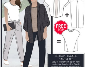 Besharl Discount Pattern Bundle // Sizes 10, 12 & 14 // Style Arc PDF Sewing Patterns for a Women's Jacket, T-shirt and Pant