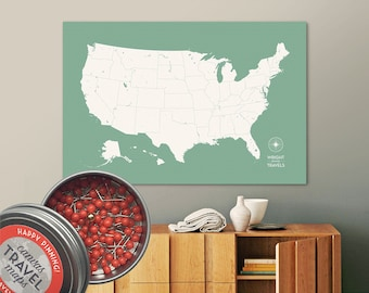 Push Pin USA Map (Teco) Travel Map Push Pin Map Travel Gift Road Trip Map of the USA on Canvas Personalized Gift For Family Name Sign