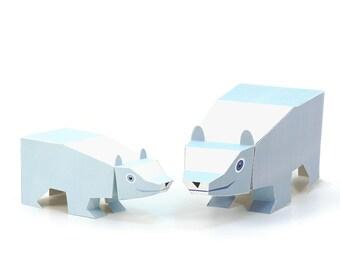 Maxi Polar Bear Paper Toys - DIY Paper Craft Kit - 3D Paper Animals - Kids Bear