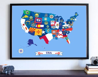 State Flags Map Wall Art, Travel Map Print, Dorm Room USA Map Poster, Homeschool Name US States, School Classroom Decor, New College Student