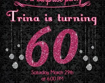 Pink Glitter 60th Birthday Invitation - Adult Birthday Party Invitation - DIY or Printed Invite