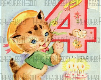 Happy Birthday 4 Year Old Kitten Card #12 Digital Download